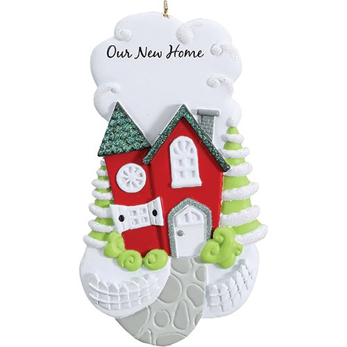 Personalized Our New Home Christmas Ornament for Tree 2018 - Stone Walk Path to Red Single Family House - First Housewarming Lights Elegant Holiday Mates Host - Free Customization by Elves