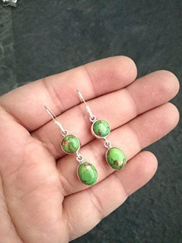 Green Copper Turquoise Earring, 925 Sterling Silver, December Birthstone, Double Stone Earring, Vintage Earring, Cocktail Earring, Mojave Turquoise Earring, Dangle Earring, Charm Earring
