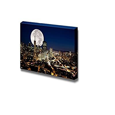 Fascinating Picture, A Full Moon Over a Urban Metropolis Wall Decor, Made For You
