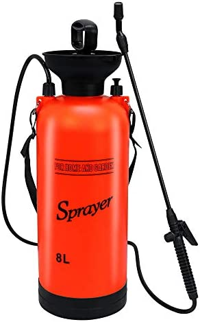 Flesser Pump Pressure Sprayer 2-Gallon Pressure Sprayer with Shoulder Strap for Herbicides,Fertilizers,Mild Cleaning Solutions and Bleach 2 Gallon, Orange