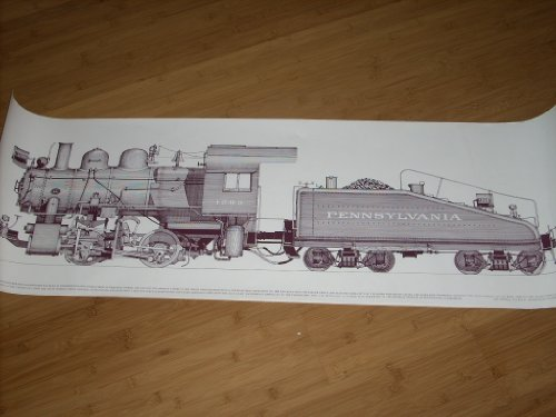 Vintage 1975 Line Drawing Poster - Class A55 Pennsylvania RR 0-4-0 Switcher No. 1289 built in 1916-1917 in the railroad's own Juanita shop. 45.5