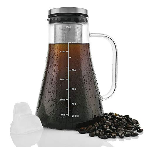(Cold Brew Coffee Maker- Premium Build 2.5mm thick Brewing Glass Carafe with Removable Stainless Steel Filter and Airtight Lid | Hold 1L | Brew Hot or Cold Tea or Coffee | Free E-books Included)