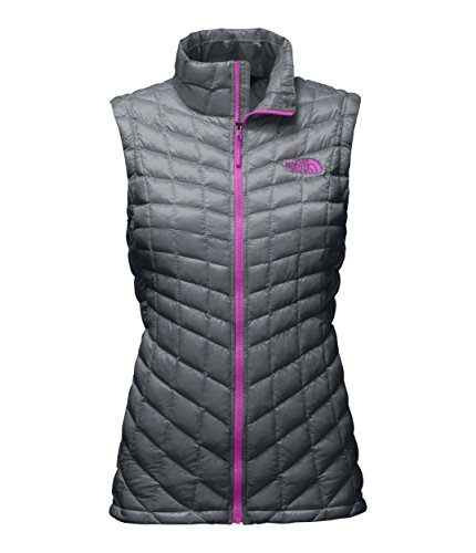 The North Face Sleeveless Vest (The North Face Womens Thermoball Vest Mid Grey and Violet Pink - M)