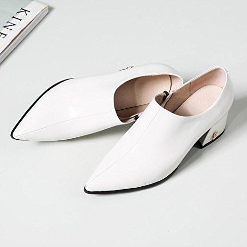 Zapatos de Altos Tacones de Mujer Trabajo Mujer Moda Tacón Zapatos Blanco Alto de Acentuado Primavera Chunky Zapatos de Botas Otoño de GAOLIXIA Casuales Salvaje wIvXyxOfqS