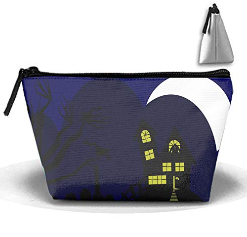 Trapezoidal Travel Cosmetic Bag Portable Makeup Pouch Nice Halloween Silhouette Pencil Holders