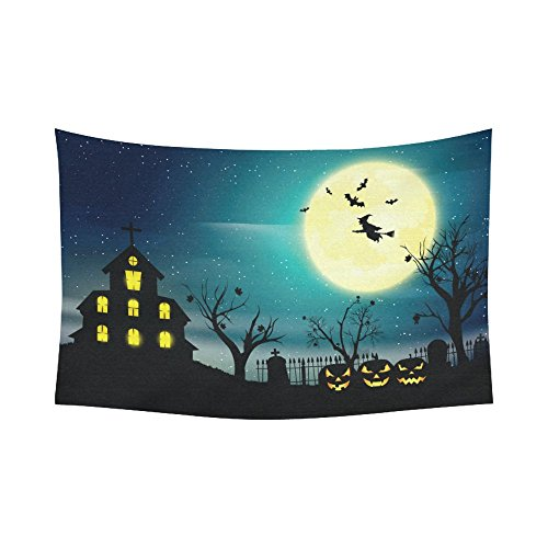 Halloween Pumkin Night Sky Tapestry Horizontal Wall Hanging Full Moon