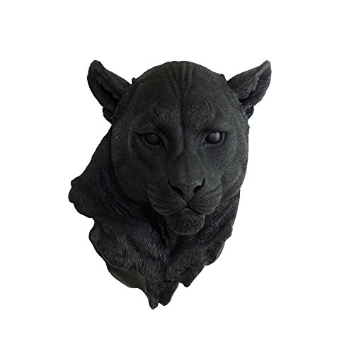 Faux Mountain Lion Head by Wall Charmers | Black Fake Ceramic Animal Decorative Resin Mounted Replica Taxidermy Plastic Art Puma Cat Mount