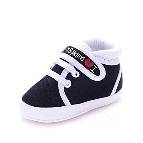 Sannysis Baby-Säuglings-weiche Sohle Segeltuch -Turnschuh-Kleinkind -Schuhe (0~6Monat, Weiß) Schwarz
