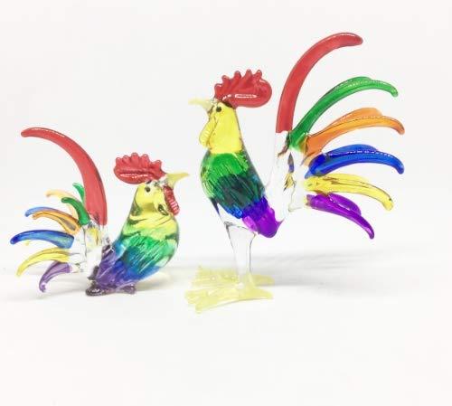 Studio one Handmade Animal Figurine Art Glass Blown Rooster Chicken Figurine Collection Set 2 Pcs