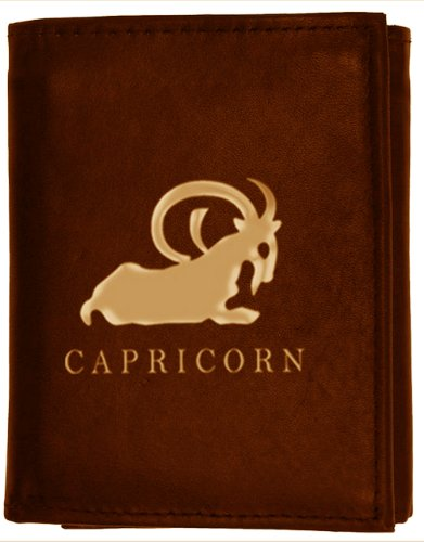 Capricorn Zodiac Sign (December 22 to January 19) Genuine Leather Trifold Wallet by Marshal