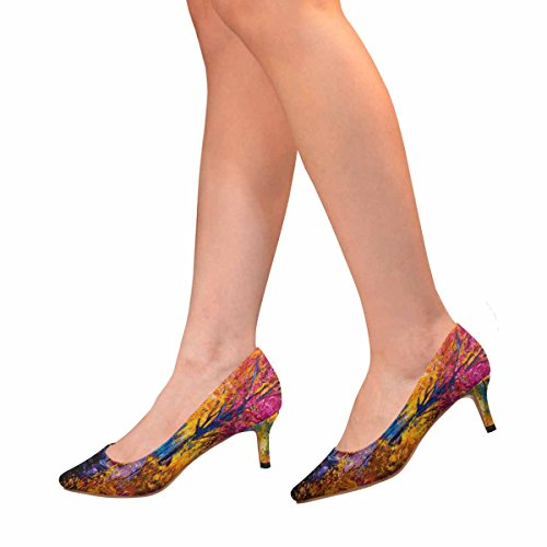 Kitten Dress Shoes Heel Multi InterestPrint Painting Autumn Low Colorful 1 Pump Womens Pointed Toe EYqpZx4nH