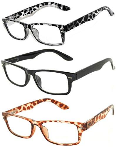 Retro Narrow Rectangular Clear Lens Eyeglasses 3 Pairs - Brown, Black, Leopard -