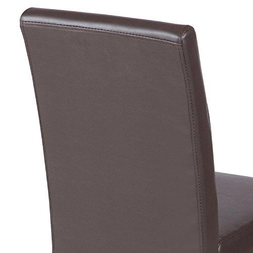 Elegant Design Dining Chair Kitchen Dinette Room Brown Leather Backrest