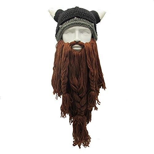 [MerryJuly Men's Head Barbarian Vagabond Beanie Original Foldaway Beard Hats Halloween Viking Horns Bearded Caps (Viking Horns&Brown Beard)] (Bearded Halloween Costumes Men)