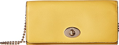 COACH Women's Crossgrain Leather Slim Chain Envelope Yellow One Size by Coach