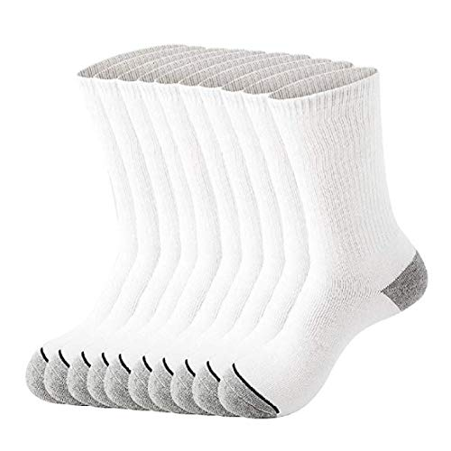 Men's 10Pack White Thick Cotton Cushion Sport Crew Socks for Work and Hiking (US 10-13, White)
