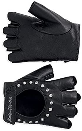 Harley-Davidson Womens Embellished Bling Fingerless Glove 98307-12VW (Medium)