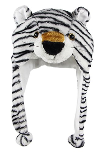 - Bioterti Plush Fun Animal Hats -One Size Cap - 100% Polyester with Fleece Lining (White Tiger)