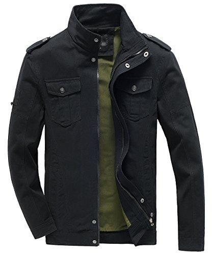 Chouyatou Men's Casual Long Sleeve Full Zip Lightweight Windbreaker Bomber Jacket (Small, Black) (Zip Wind Full Lightweight Jacket)