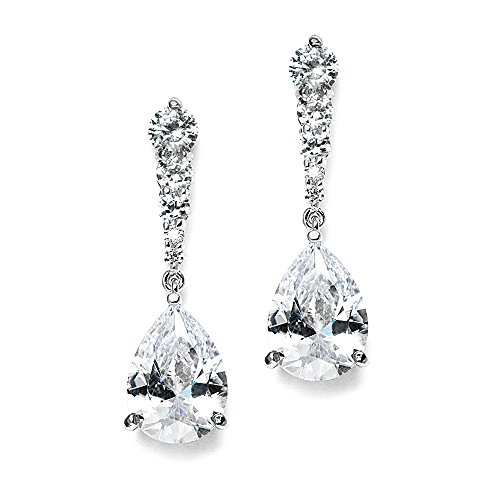 Mariell Pear-Shaped Cubic Zirconia Drop Earrings with Tapered Top - Great for Brides, Proms & Bridesmaids