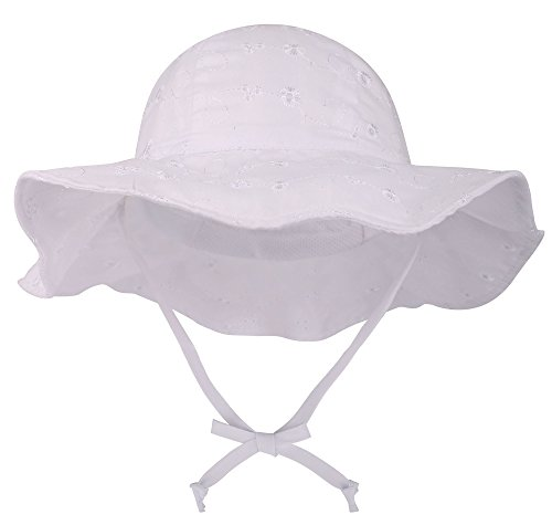 (ThunderCloud Kids 50+ UPF Protective Wide Brim Sun Hat,White1,0-12 Months)