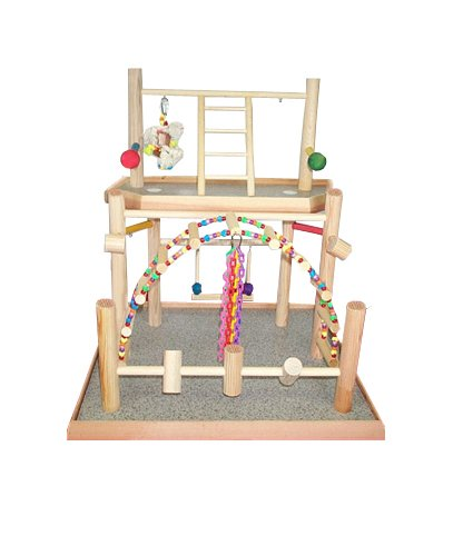 BirdsComfort Two Levels Bird Gym, Bird Activity Center, Wood Tabletop Play Pen for Lovebirds - Base: 20'' x 19'' , Overall Height: 23'' - 2 levels by Bird Gyms