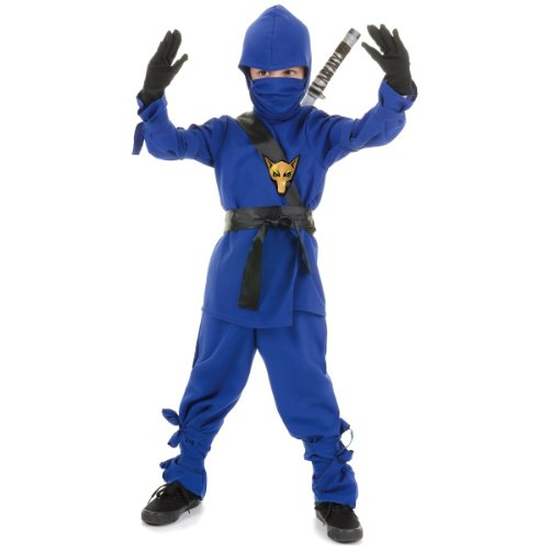 Underwraps Costumes Big Boy's Children's Blue Ninja Costume, Medium 6-8 Childrens Costume, blue, Medium