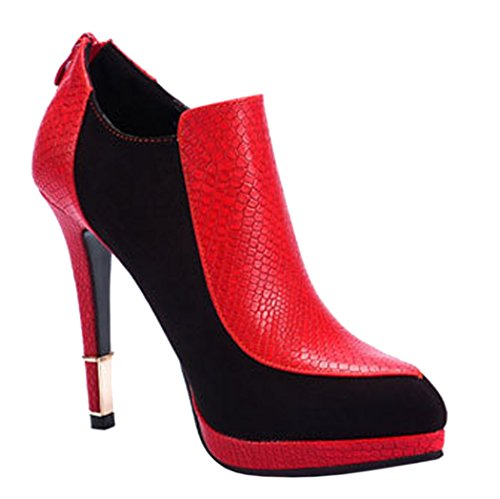 INDEX Zipper For Closure Genuine Leather Platform Thin Heel Lady Shoes(6 B(M) US, Red)
