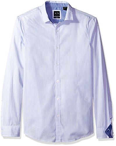 Armani Dress Shirts - A|X Armani Exchange Men's Poplin Long Sleeve Button Up Woven, Blue Plaid, X-Large