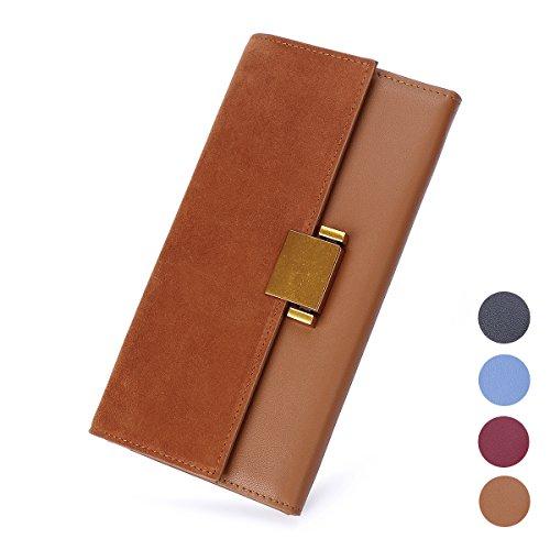 Women Luxury Genuine Leather Wallet Long Multi Card Organizer Clutch Bags (Tan)