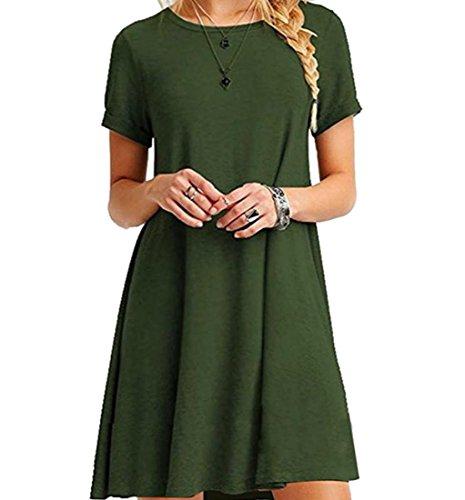 Les Femmes Coolred Cou De Scoop Manches Courtes Armée Robe De Cocktail Robe De Soirée Décontractée Vert