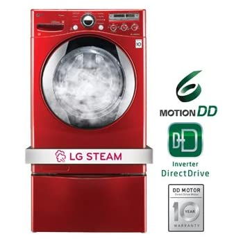 LG WM2650HRASteamWasher 3.6 Cu. Ft. Wild Cherry Red Stackable With Steam Cycle Front Load Washer - Energy Star