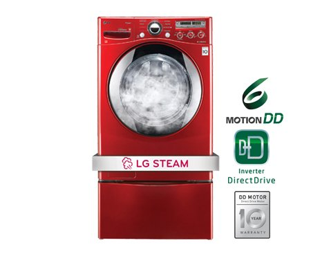 LG WM2650HRASteamWasher 3.6 Cu. Ft. Wild Cherry Red Stack...