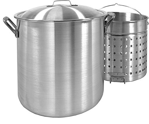 Perforated Aluminum Pot Stock - Bayou Classic 8000 80-Quart Aluminum Stockpot with Boil Basket