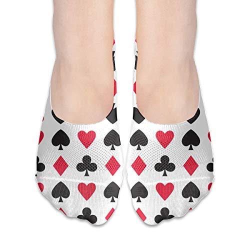 Women's Polyester Cotton Non Slip Flat Boat Line Crew Socks Low Cut Ankle Socks Boat Leggings Poker