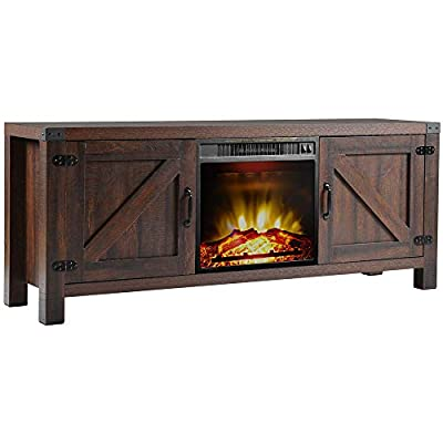 """Yetech Farmhouse Barn Door Wood Fireplace TV Stand for TVs up to 65"""" Living Room Storage, 58"""" (Rustic) - ❤CABLE MANAGEMENT: This fireplace features cable management system to run cords in the back of the TV stand. NOTE: It includes 2 packages. ❤MODERN FARMHOUSE STYLE: This tv console provides extra storage space, two side cabinets with adjustable shelves. ❤DIMENSIONS: Overall dimensions - 57.8"""" x 15.7"""" x 23.6"""" (L x W x H). Electric fireplace dimensions: 17.7"""" x 4.3"""" x 16.9"""". - tv-stands, living-room-furniture, living-room - 41V91q4oA8L. SS400  -"""