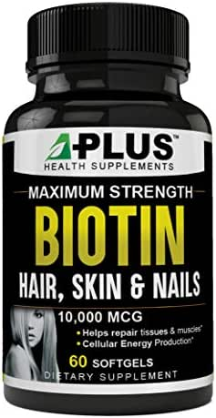 Biotin for Hair Growth, Stronger Nails & Skin Care, Potent Biotin 10000 mcg Maximum Strength Supplement