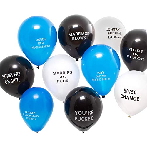 Funny Bachelor Party Balloons - Abusive Gag Gift NSFW (20 Pack) -