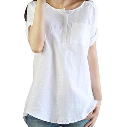 Shirt For Women, jinjiu Summer Short Sleeve Loose Shirt Cotton Linen Solid Color Blouse (M, White) - Vintage Boy Scout Uniform Shirt