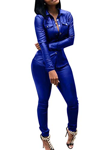 Adogirl 2 Piece Outfits for Women Faux Leather Button Down Shirts and Leggings Blue 3XL