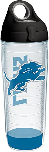 Tervis 1271074 NFL Detroit Lions Stripe Tumbler with Wrap and Black with Gray Lid 24oz Water Bottle, Clear