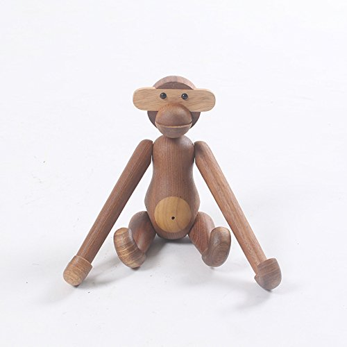 Nordic Style Teak Wood Creative Animal Statues Models Home Decoration Arts and Crafts (Monkey) by CribMATE