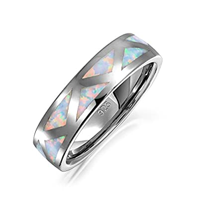 nice Bling Jewelry Inlaid Synthetic White Opal Rhodium Plated Silver Ring