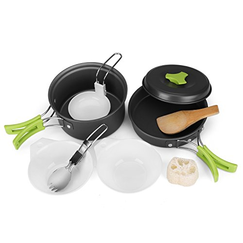 Flexzion Camping Cookware Mess Kit Compact 10pc Hiking Cooking Gear Set - for Outdoors, Backpacking, Campfire - Lightweight Portable Non Stick Pot & Pan with Utensils - Nylon Bag Accessories (Green)