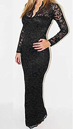 Women Dress Long-sleeved V-neck Package Hip Hollow Out Full Lace Dress Black, Size: M, Fyn- 8040
