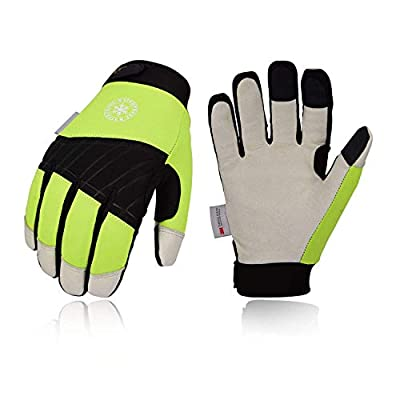 Vgo 3Pairs 32? or above 3M Thinsulate C40 Lined Winter Premium Pigskin Leather Waterproof Work Gloves (Fluorescence Green,PA1016FW)