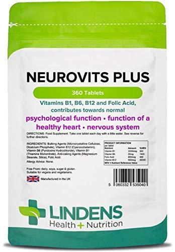 Lindens Neurovits Plus en comprimidos | 360 Paquete | Contiene vitaminas B1, B6, B12