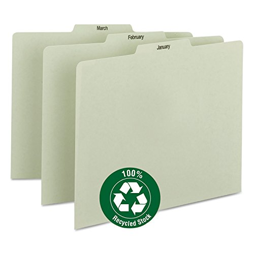 Smead 50365 Recycled Top Tab File Guides Monthly 1/3 Tab Pressboard Letter 12/Set ()