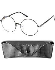 Hippie Stijl Blauwlichtfilter met Grote Ronde Lens, GRATIS Brillenkoker, Metaal Montuur, Leesbril Vrouwen en Mannen