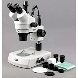 AmScope SM-2T Professional Trinocular Stereo Zoom Microscope, WH10x Eyepieces, 7X-45X Magnification, 0.7X-4.5X Zoom Objective, Upper and Lower Halogen Lighting, Pillar Stand, 110V-120V